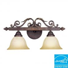 World Imports WI263024N - Olympus Tradition Collection 2-Light Crackled Bronze with Silver Bath Bar Light