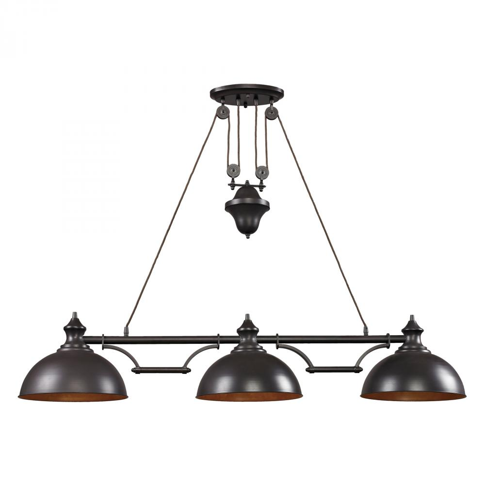 Farmhouse 3-Light Island Light in Oiled Bronze with Matching Shade