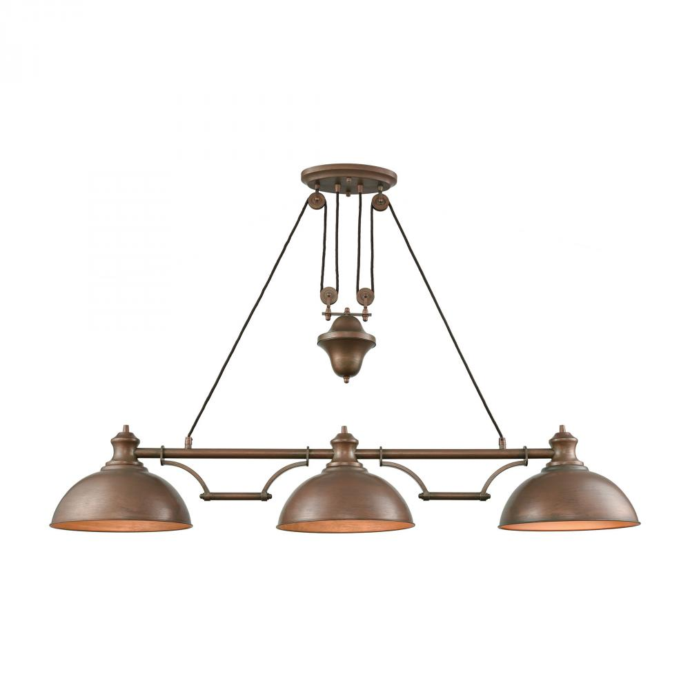 Farmhouse 3-Light Adjustable Island Light in Tarnished Brass with Matching Shade