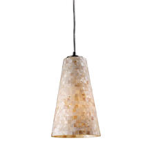 ELK Lighting 10142/1-LED - Capri 1-Light Mini Pendant in Satin Nickel with Capiz Shell Glass - Includes LED Bulb