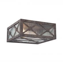 ELK Lighting 32121/2 - Radley 2-Light Flush Mount in Malted Rust with Clear Raindrop Glass Panels
